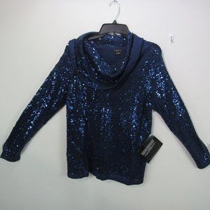 💖IMAN Women's cowl neck blue sweater MED